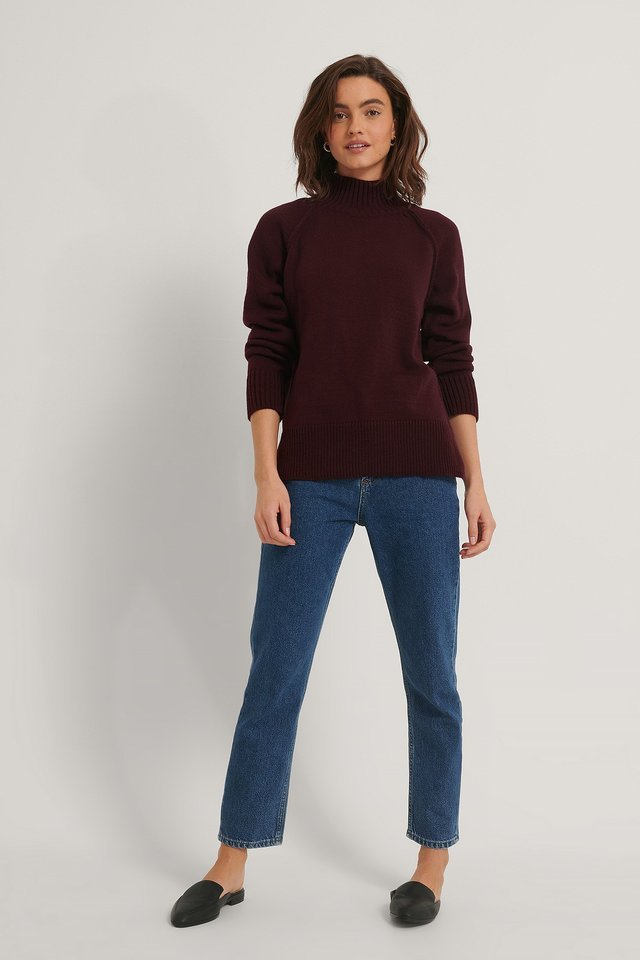 High Neck Side Slit Knitted Sweater Outfit.