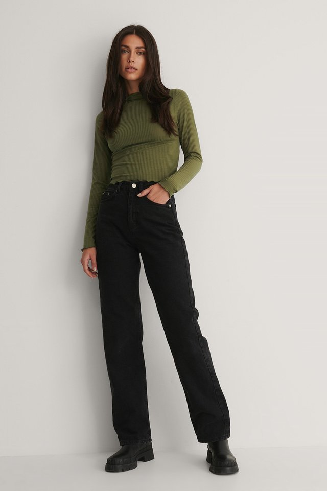 Collar Stand Knit Top Outfit.