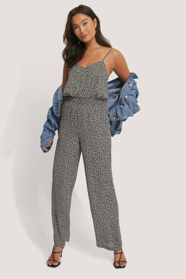 Smocked Printed Jumpsuit Outfit.