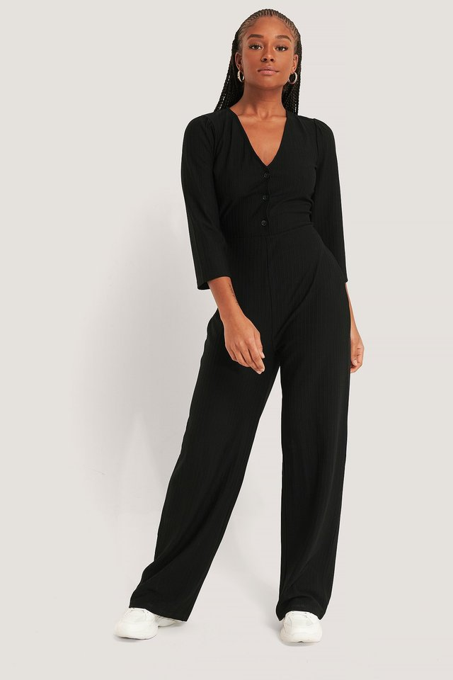 Puff Sleeve Ribbed Jumpsuit Outfit.