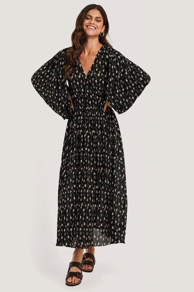 Black Flower Robe Cache-Coeur Structurée Et Manches Ballon