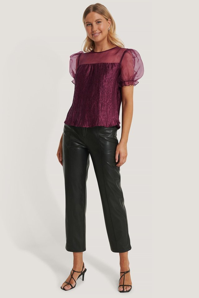 Organza Blocking Blouse Outfit.