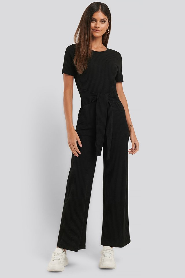Ribbed Tie Waist Jumpsuit Outfit.