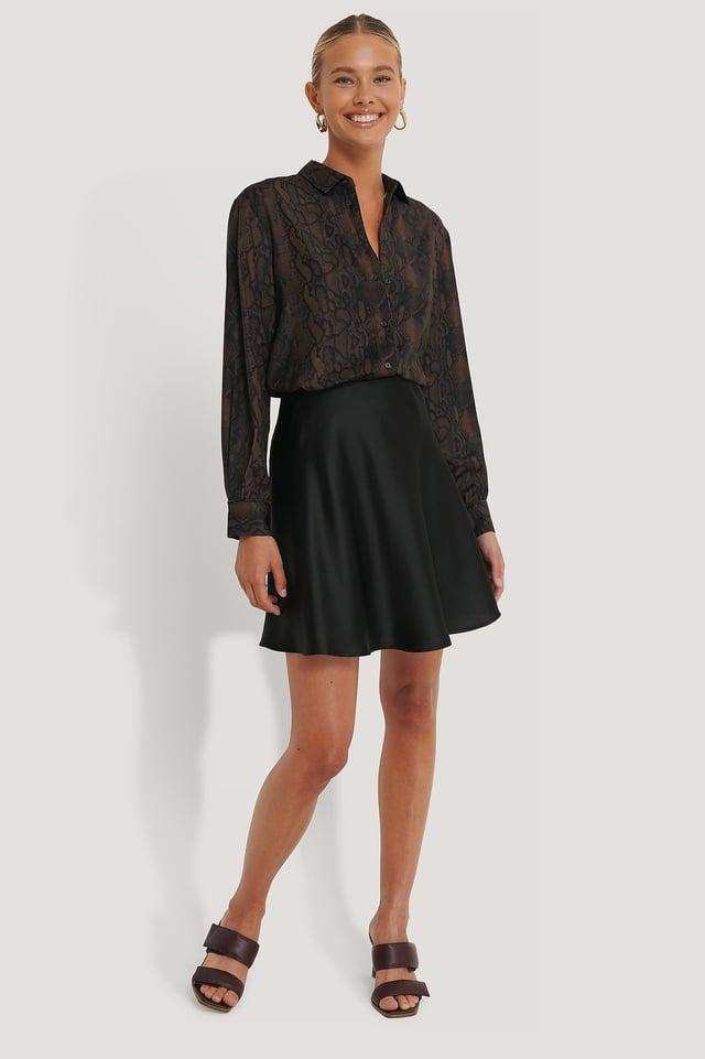 Mini Satin Skirt Outfit.