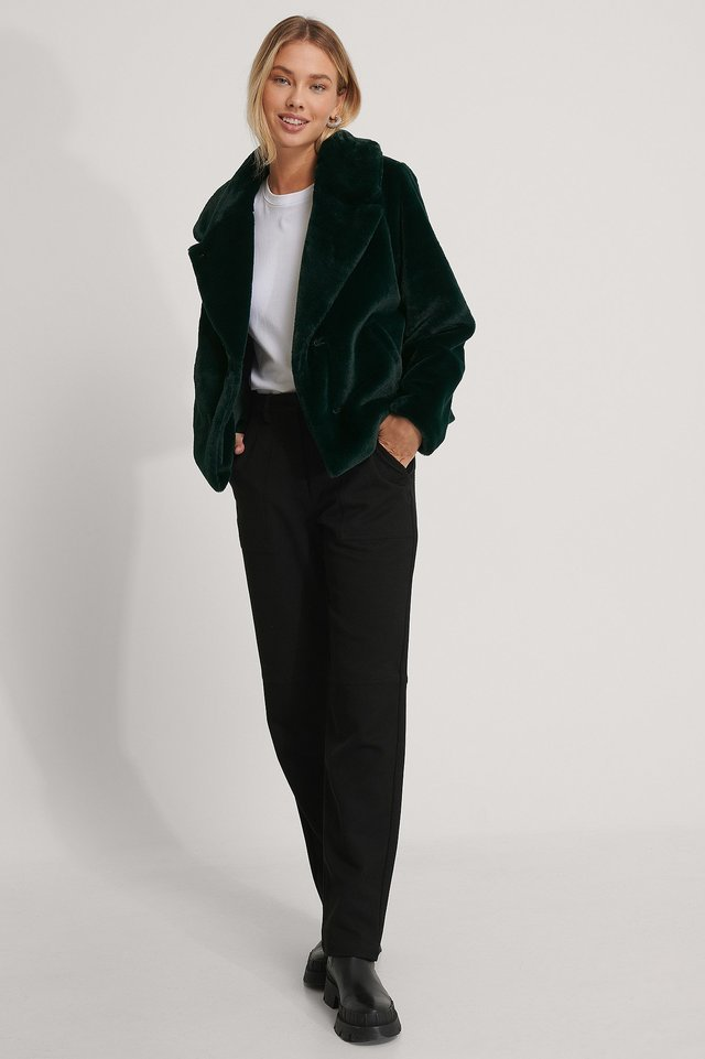 Fluffy Faux Fur Jacket Green.