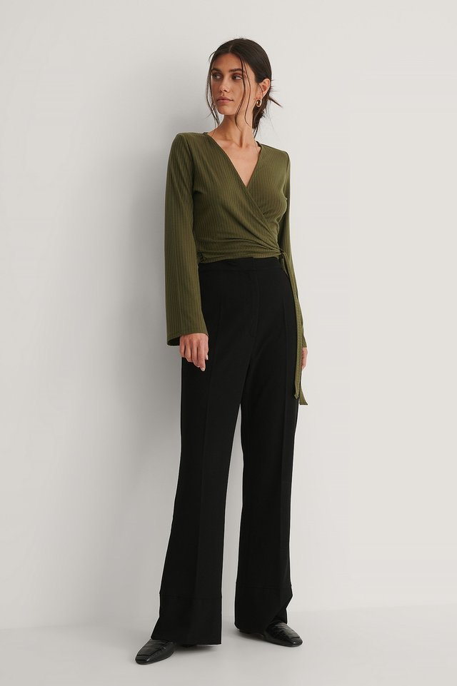Ribbed Wrap Tie Top Outfit.
