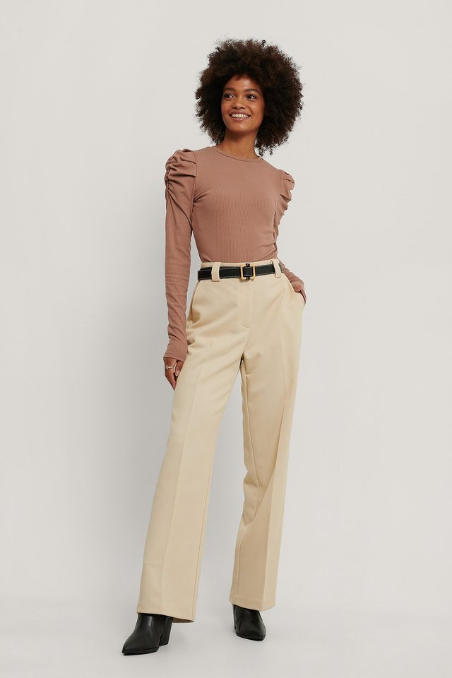 Puff Detail Long Sleeve Top Outfit.