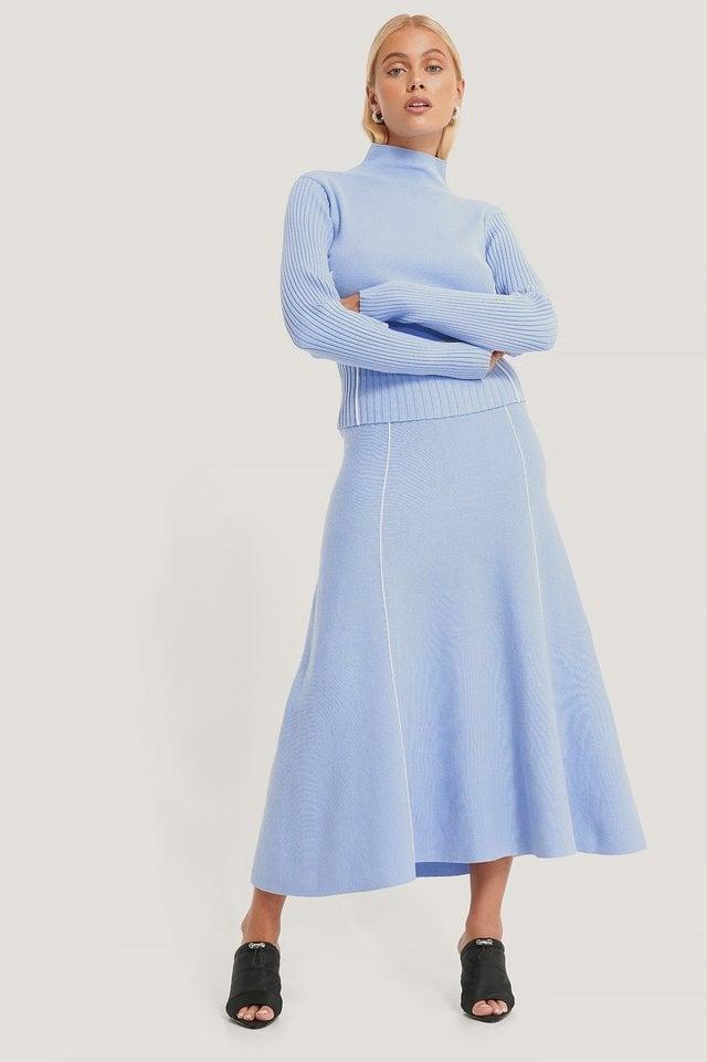 Light Knit Seam Detail Skirt Outfit.