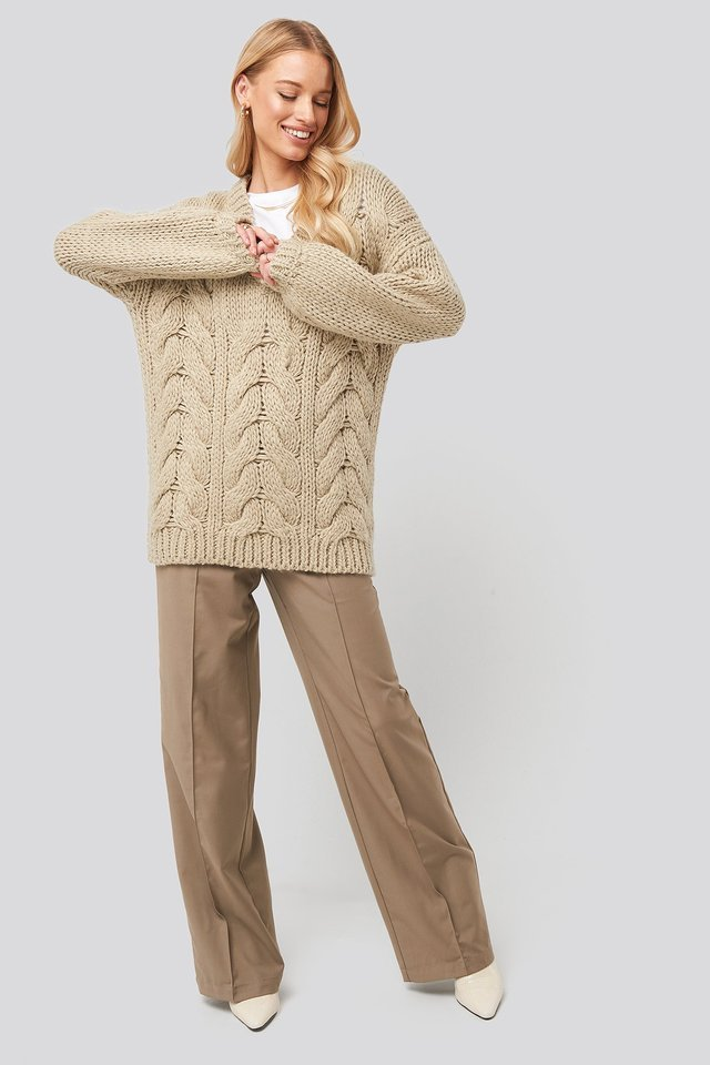 Wool Blend V-Neck Heavy Knitted Cable Sweater Outfit.