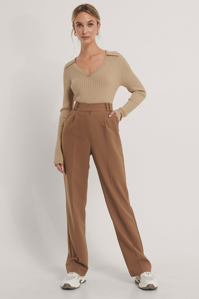 Beige Pique Collar Ribbed Knitted Sweater