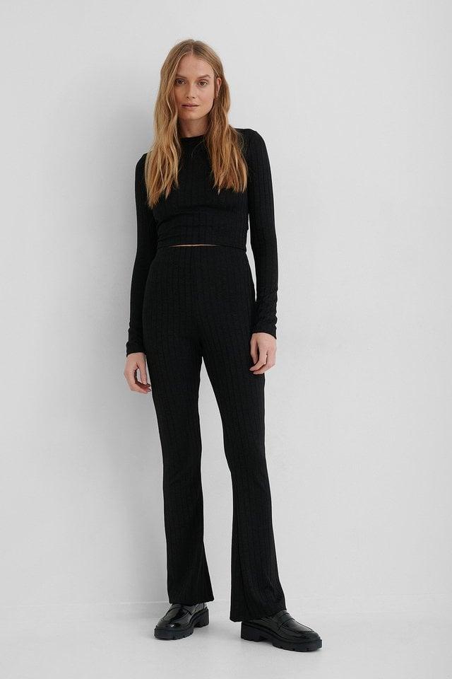 Black Legging Évasé Taille Haute