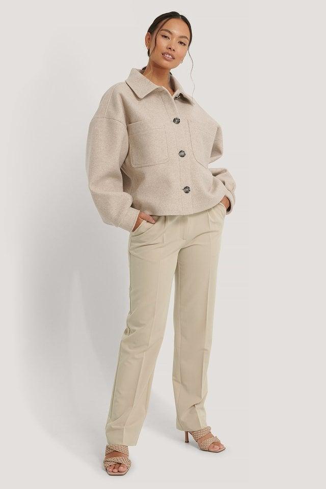 Wool Blend Oversized Short Jacket Beige.