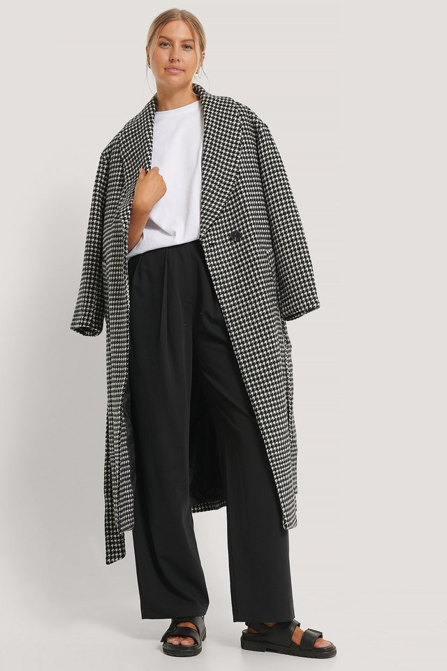 Houndstooth Belted Coat Multicolor.