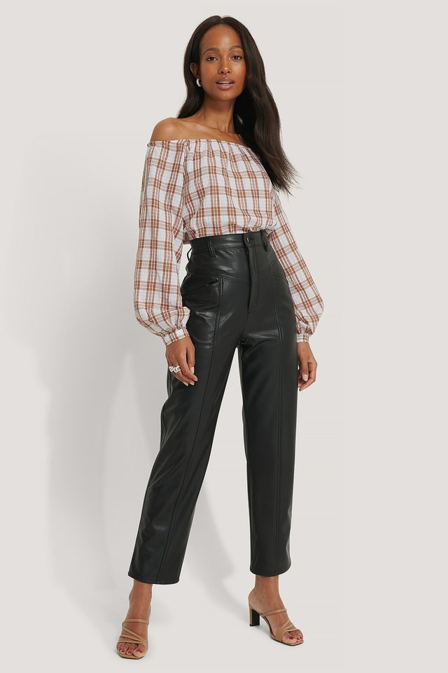 Off Shoulder Structure Check Blouse Outfit.