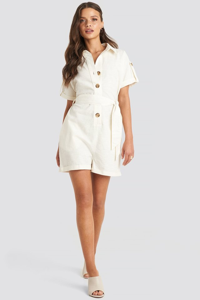 Linen Look Buttoned Playsuit Outfit.
