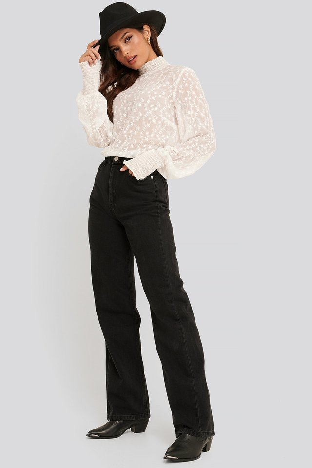 Embroidery Smock Blouse Outfit.