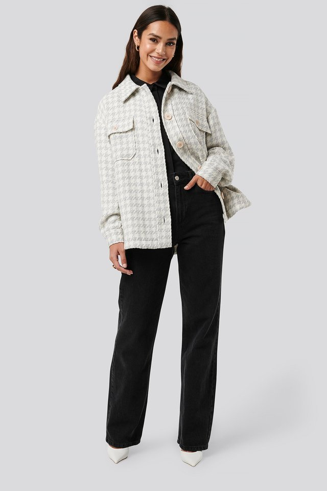 Wool Blend Dogtooth Jacket Grey.