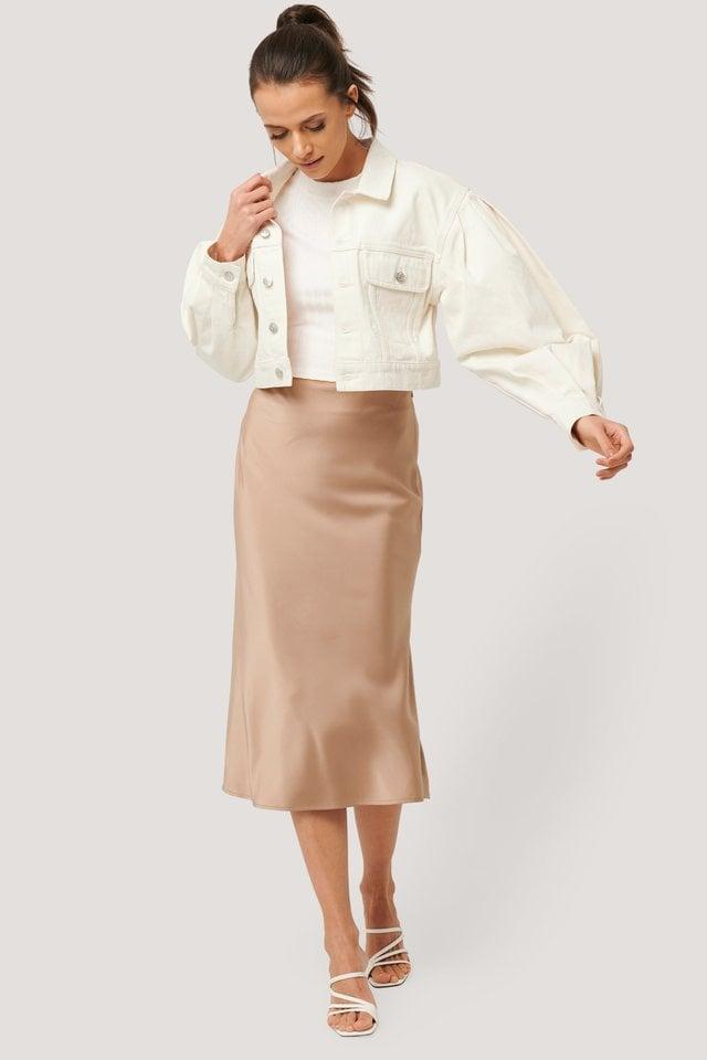 Puff Sleeve Oversized Denim Jacket White.