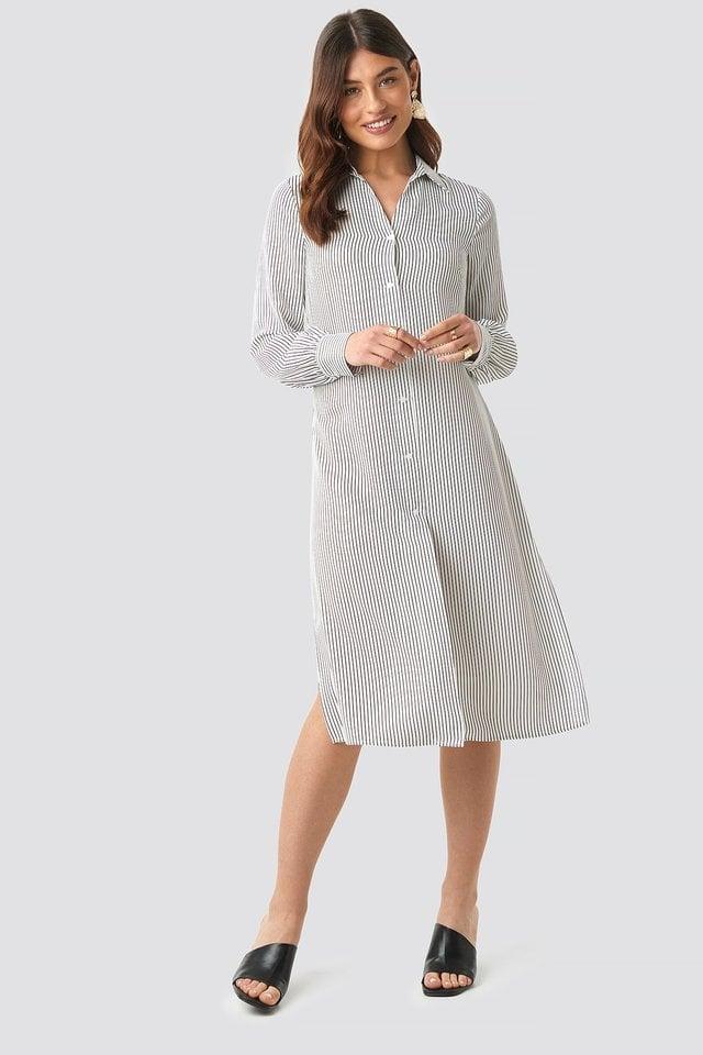 Midi Striped Shirt Dress Outfit.