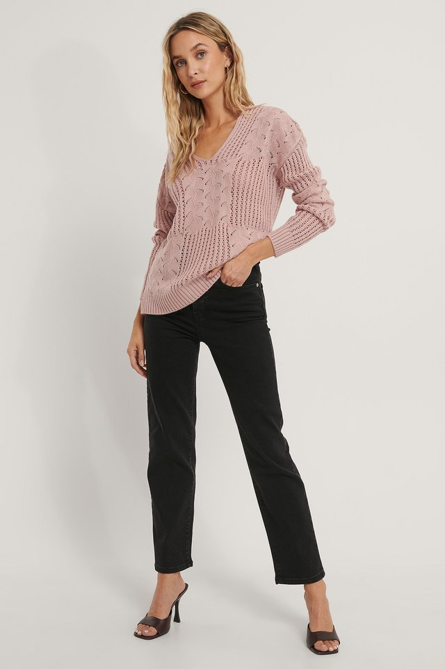 V-neck Pattern Knitted Sweater Outfit.