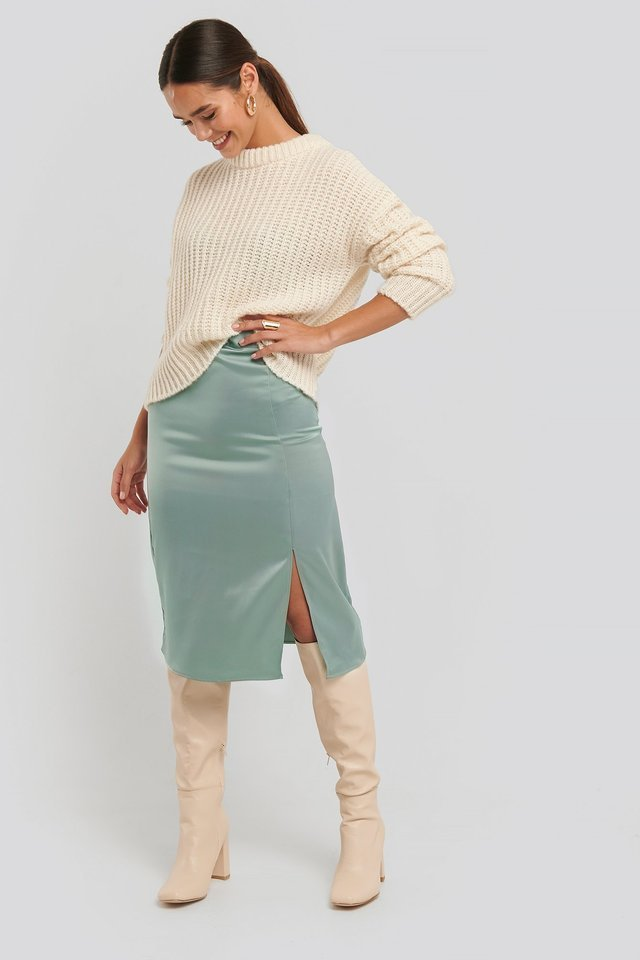 Front Slit Satin Skirt Outfit.