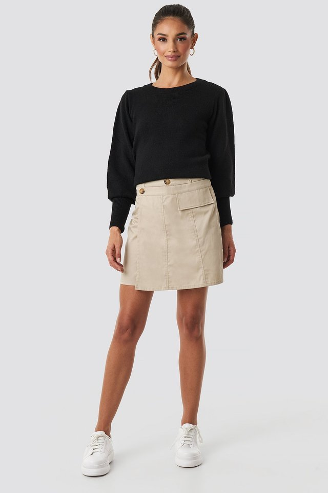 Beige Button Detailed Mini Skirt