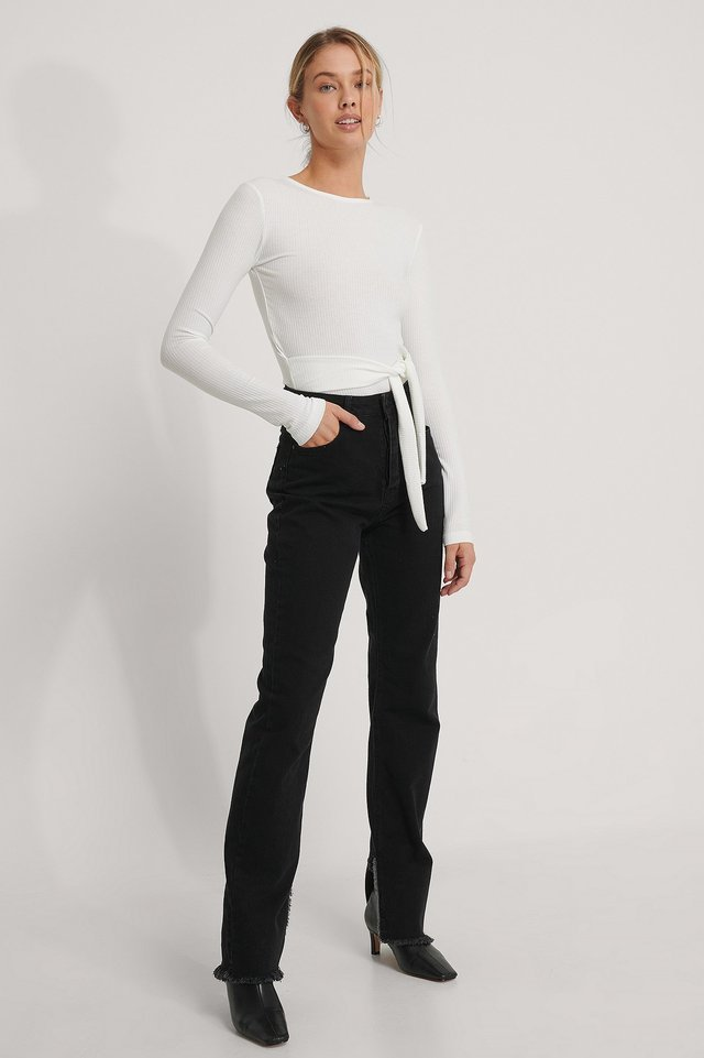 Belted Long Sleeve Top Outfit.