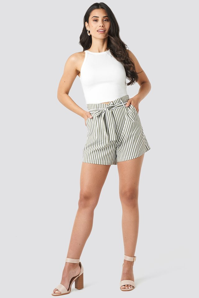 Striped Tied Waist Shorts Outfit.