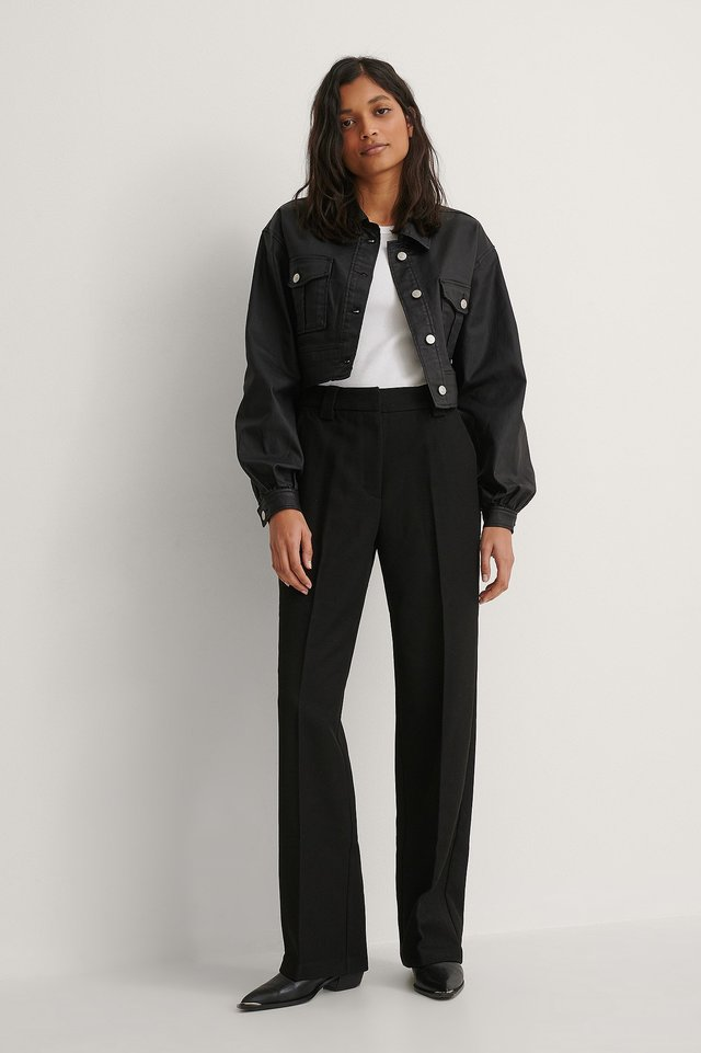 Coated Balloon Sleeve Cropped Jacket Outfit.