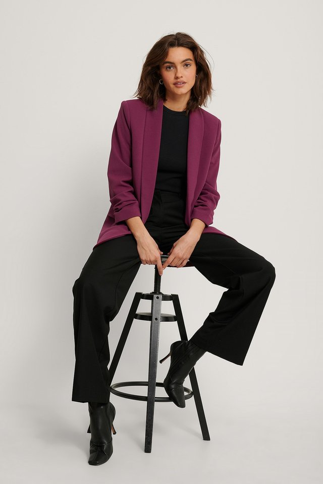 Gathered Sleeve Blazer Outfit.