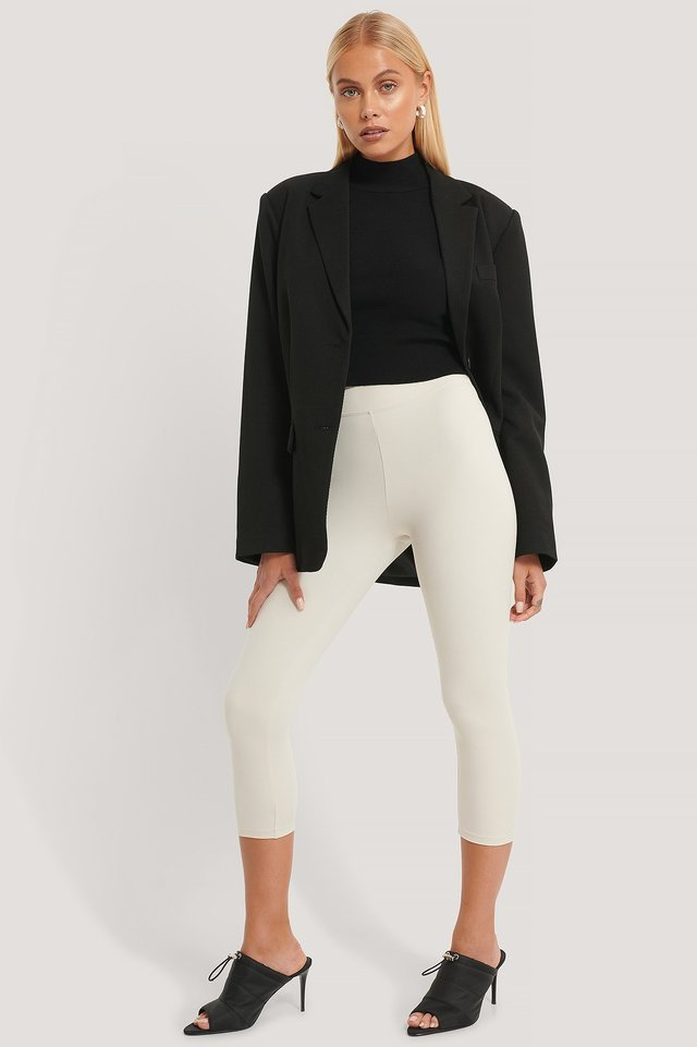 Ribbed Polo Cropped Knitted Sweater Outfit.