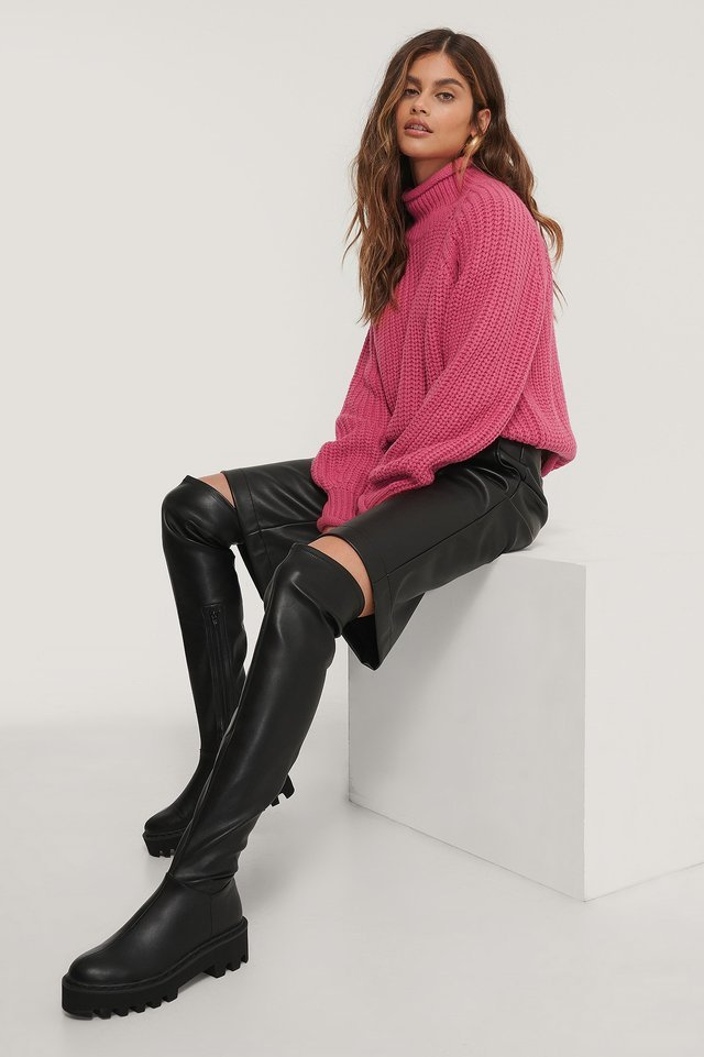 Raglan Sleeve High Neck Knitted Sweater Outfit.