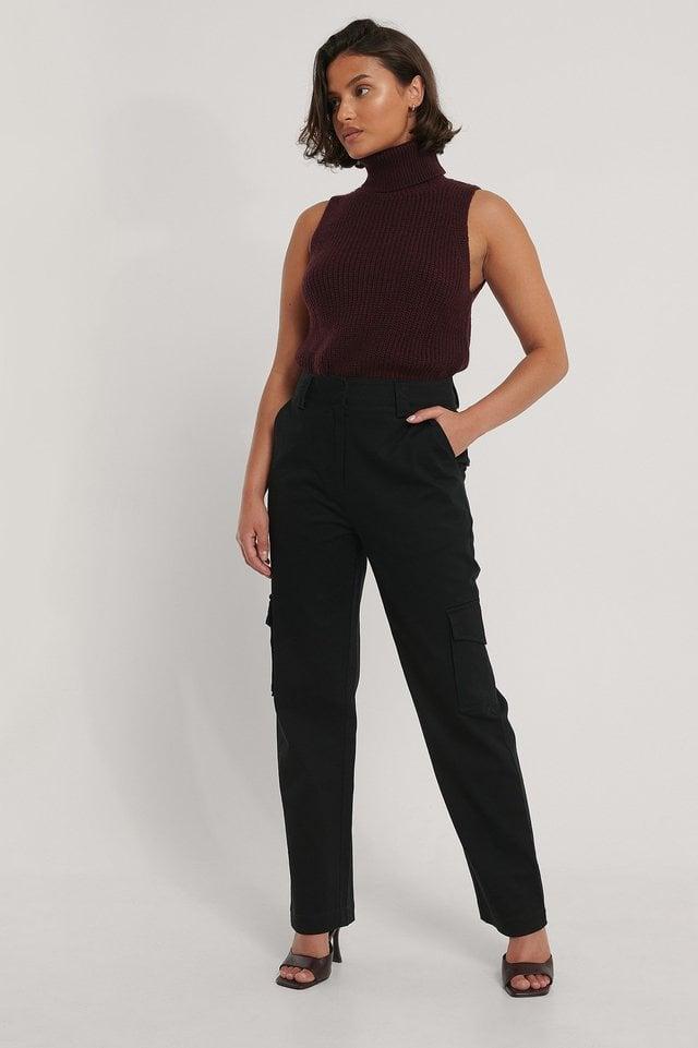 Black Pantalon Cargo À Poches