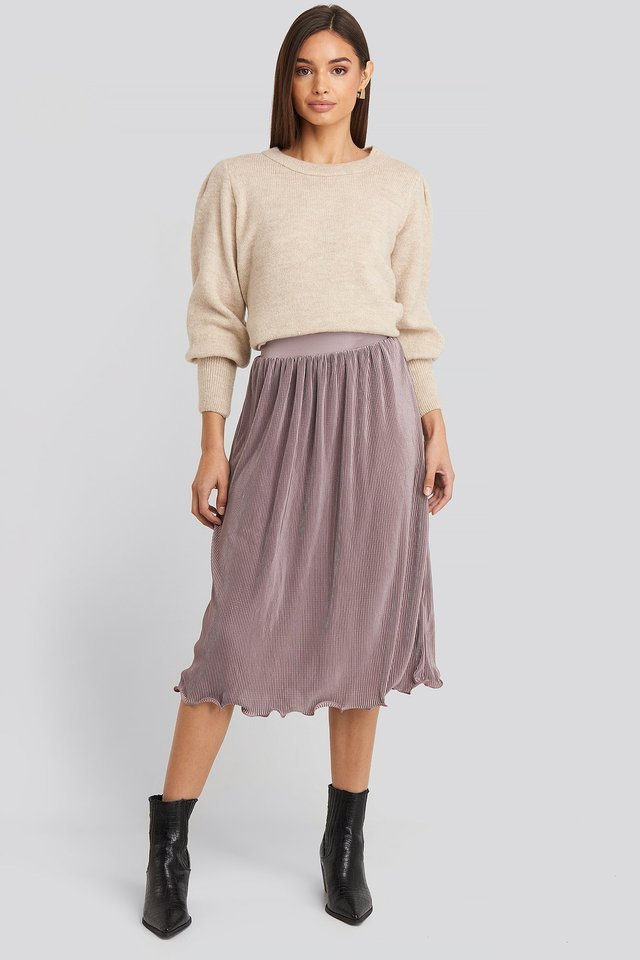 Dusty Purple Pleated Detailed Hem Skirt