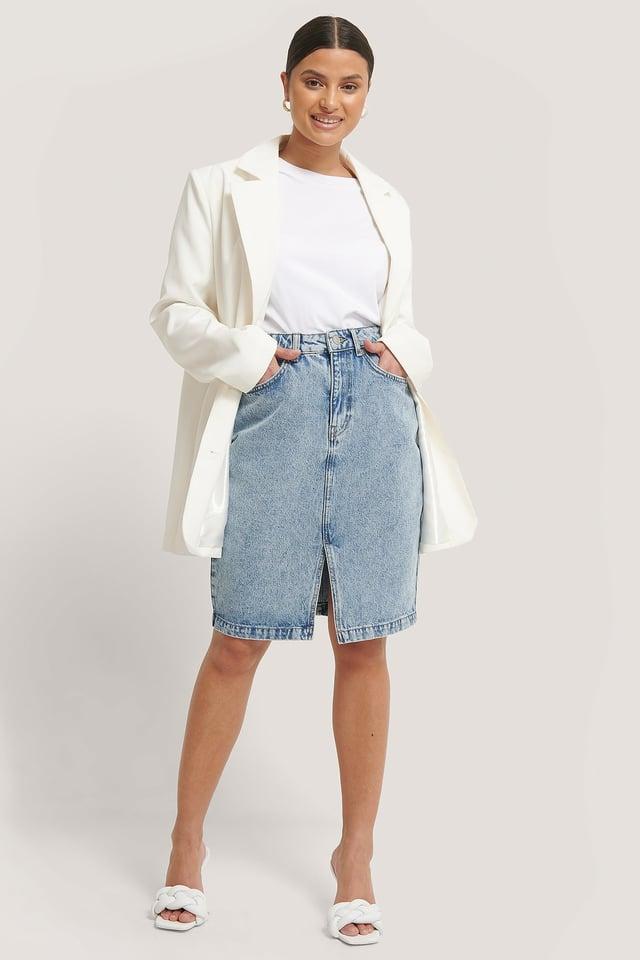 Denim Front Slit Skirt Outfit.