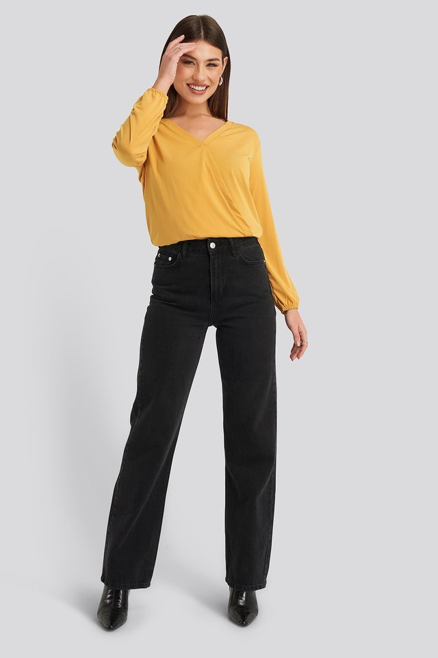Long Sleeve Overlap Blouse Outfit.