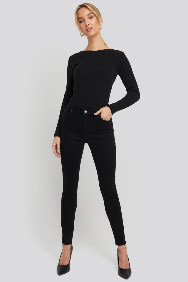 Recycled Zip Detail Ankle Skinny Jeans Black.
