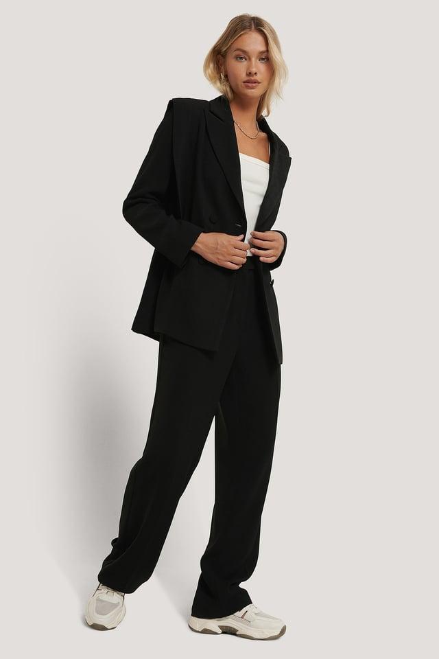 Bolded Shoulder Blazer Outfit.