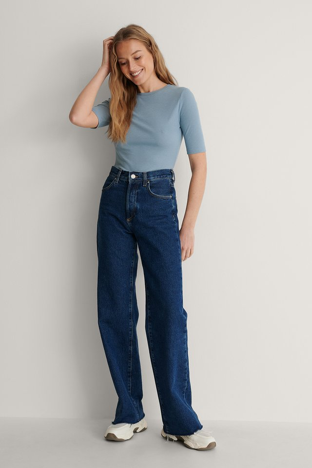 Round Neck Ribbed Top Outfit.