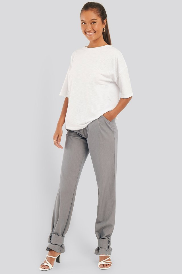 Round Neck Ribbed Oversized Tee Outfit.