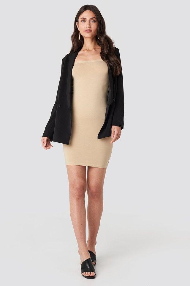 Basic Jersey Bandeau Dress Outfit.