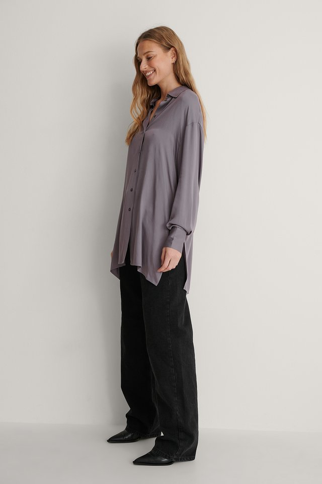 Long Slit Soft Shirt Outfit.