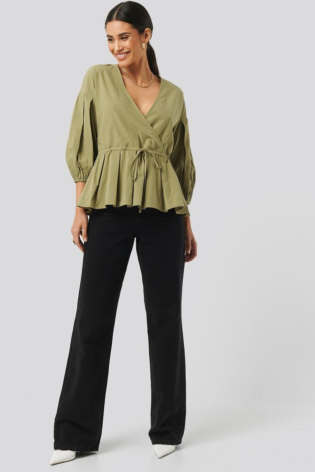 Balloon Sleeve Drawstring Blouse Outfit.