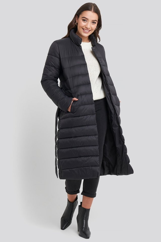 Long Belted Padded Jacket Black.