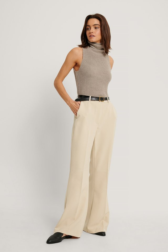 Squared Bottom Hem Suit Pants Outfit.