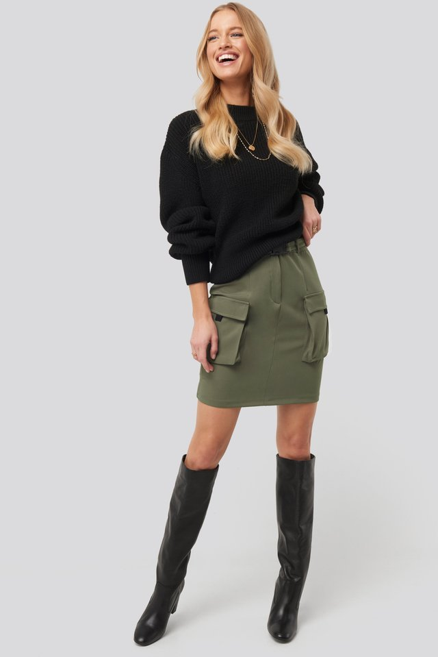 Balloon Sleeve Ribbed Sweater Outfit.