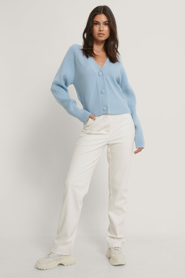 Big Button Cropped Sweater Outfit.