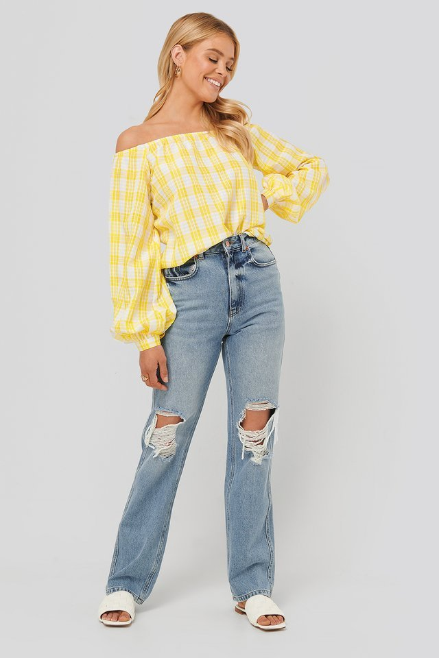 White/Yellow Off Shoulder Structure Check Blouse
