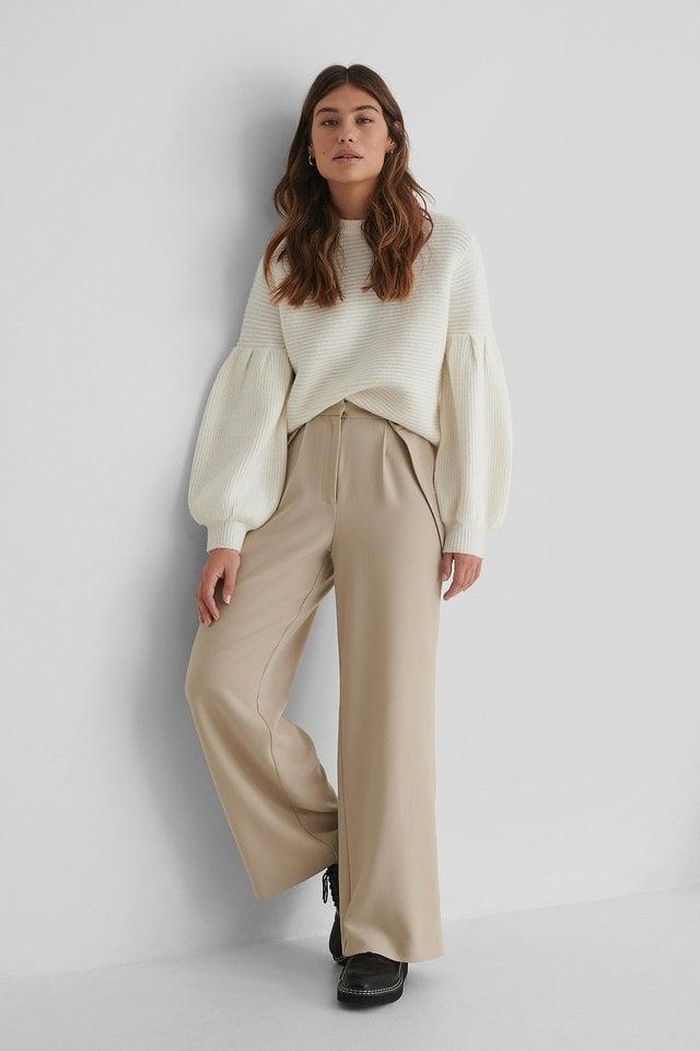 Button Detail Waist Suit Pants Outfit.