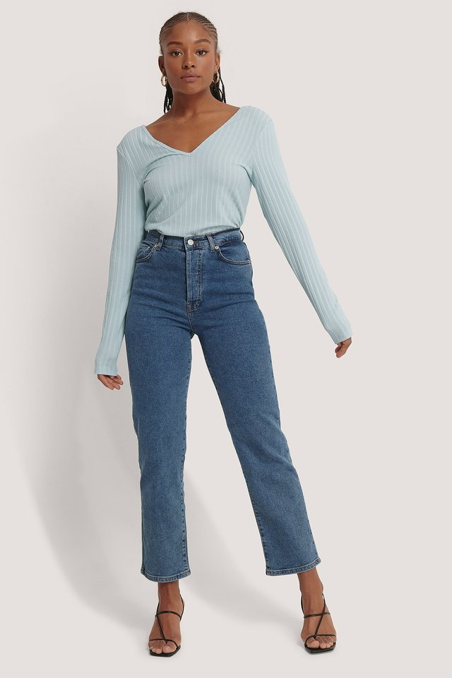 V-Neck Ribbed Top Outfit.